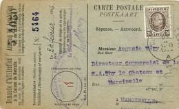 Belgique. TP 196  CP Courcelles> Marcinelle 1926   Perfin T.M.   S.A. Des Hauts-Fourneaux, Forges Et Aciéries De Thy-le- - 1922-1927 Houyoux