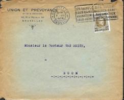Belgique. TP  255  L. Bruxelles 1> Boom 1928   Perfin U.P.    Union & Prévoyance - 1922-1927 Houyoux