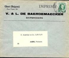 Belgique. TP 254  Impr. Gent 1 > Abo (= Turku) Finlande 1930   Perfin D.B   V. & L.  De Baerdemaecker - 1922-1927 Houyoux