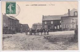 08 AUTHE La Place ,attelage Cheval Avec Remorque ,paysans Sur La Place ,écrite à Mlle Baudart Reims ,oblitération OR - France