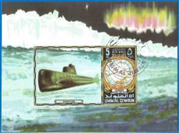 Umm Al-Qiwain 1972 Year, Used Block Submarine - Umm Al-Qaiwain