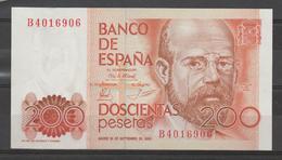ESPAÑA BILLETE DE 200 Pts. PLANCHA MADRID 16 DE SEPTIEMBRE DE 1980  MBC. - [ 4] 1975-… : Juan Carlos I