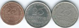 Sri Lanka - 25 Cents - 1982 (KM141.2a) 2001 (KM141a) 2005 (KM141b) - Sri Lanka