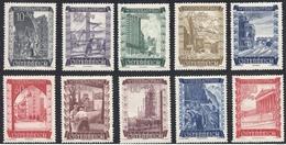 Timbres Neufs** D'autriche, N°712-721 Yt, Au Profit De La Reconstruction, Mines, Puits De Pétrole, Barrage, Gares, Route - 1945-60 Neufs