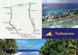 1 AK Tokelau Islands / Das Atoll Nukunonu * Landkarte Des Atolls Nukunonu Map Und Blick Auf Die Insel Nukunonu * - Nouvelle-Zélande