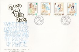 COVER. LETTRE. FDC ISLE OF MAN 1989 FOR UNTO US CHILD IS BORN - Unclassified