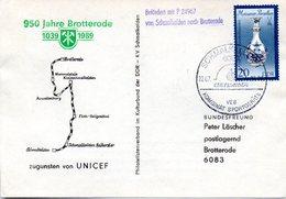 """(DDR-B3) DDR Sonderumschlag """"950 Jahre Brotterode"""", EF Mi 3242, SSt. 22.7.89 SCHMALKALDEN - DDR"""