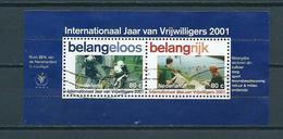 2001 Netherlands Complete M/Sheet Volunteers Used/gebruikt/oblitere - Blokken