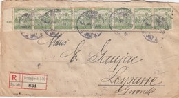 COVER. LETTRE. FRONT. HUNGARY. REGISTERED. STRIP 8 X 50 FILLER. BUDAPEST TO LESPARRE - Unclassified