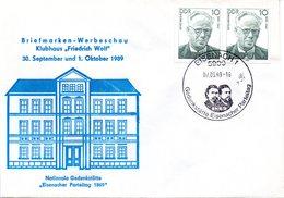 """(DDR-B3) DDR Sonderumschlag """"Briefmarken-Werbeschau"""", MeF 2x Mi 3223, SSt. 7.9.89 EISENACH 1 - DDR"""