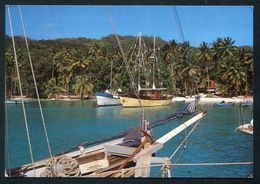 2 Stamps Birds On PC.  SEYCHELLES - LA DIGUE . La Passe Showing Locally Build Schooner - Seychellen