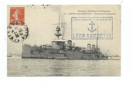 JP 104 - CROISEUR CUIRASSÉ LÉON GAMBETTA -  (27-01-1911) SUR CARTE POSTALE - Marcophilie (Lettres)