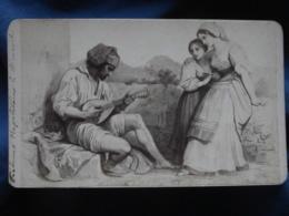 Photo Albuminée CDV Anonyme - Napoli, Naples, Musicien Joueur De Mandoline Circa 1880 L422 - Oud (voor 1900)
