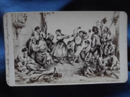 Photo Albuminée CDV Anonyme - Napoli, Naples, Danse Napolitaine La Tarentelle Circa 1880 L422 - Foto