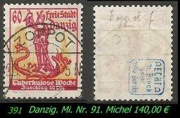 Mi. Nr. 91 - Gebraucht - Geprüft - ZOPPOT F - Danzig