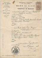 Certificat De Mariage De Clichy, Arrondissement De Saint Denis (Seine St Denis Maintenant) - Marcophilie (Lettres)