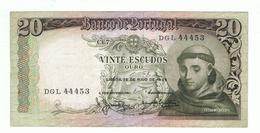 PORTUGAL»20 ESCUDOS»1964»PICK-167B.7»BANKNOTE- DGL 44453»VG CONDITION»CIRCULATED - Portugal