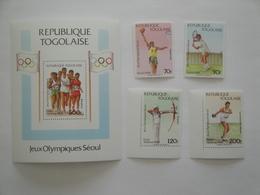 1988 Togo Yv 1230/1 + PA 651/2 BF 266** MNH Sport JO De Séoul Cote 12.00 € Michel 2081/4 + B 308 Scott 1466/70 - Togo (1960-...)
