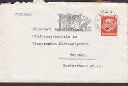 Germany Deutsches Reich Slogan 'Postaat' MÜNCHEN Haupstadt Der Bewegung 1939 Cover Brief Wimmerschen Mädchenlyzeum - Allemagne