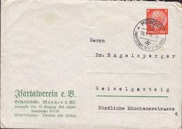 Germany Deutsches Reich ITC Cachet JSARTALVEREIN., MÜNCHEN 1938 Hauptstadt Der Bewegung Cover Brief GEISTELGASTEIG - Allemagne