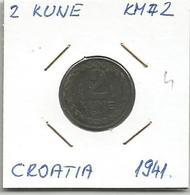 Gh5 Croatia 2 Kune 1941. KM#2 Zinc - Croatia