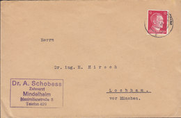Germany Deutsches Reich DR. A. SCHOBESS Zahnarzt MINDELHEIM 1942 Cover Brief Lochham Vor MÜNCHEN 12 Pf. Hitler Stamp - Allemagne