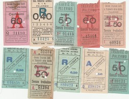 Lotto 10 Biglietti Tram - Unione Trazione Elettrica E Trasporti Della Sicilia - Palermo - Tramways