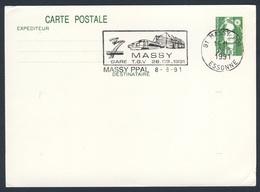 France Rep. Française 1991 Card / Karte / Carte - Massy Gare TGV, Inauguration / Bahnhof - Treinen