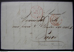 1848 Marque D'entrée Rouge Berne Maiche Sur Une Lettre De Berne (Suisse) Pour Paris - Marcophilie (Lettres)