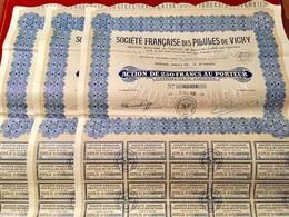 Sté  FRANÇAISE  Des  PILULES  De  VICHY -------Trois  Actions De 250 Frs - Non Classés