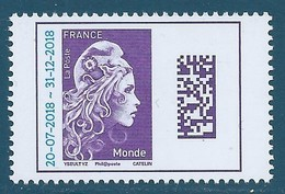 N°5271 Marianne D'Yseult TVP Monde Surchargée 20-07-2018 - 31-12-2018 Neuf** - 2018-... Marianne L'Engagée