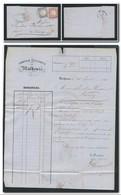 ALSACE Annexée 1873 - Bordereau Comptoir D'Escompte Mulhouse Cachet Fer à Cheval Sur 1 + 2 Grochen Empire Allemand - Marcofilia (sobres)