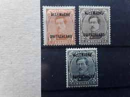 Deutsches Reich Allemagne Occupation Belge  Belgique 1919  Albert 1er Surchargés,  Yv 1/ 3  Neufs * MH TB - Belgische Zone
