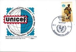"""(DDR-B3) DDR Sonderkarte """"UNICEF"""", EF Mi 3275, SSt. 3.12.89 SUHL 1 - Briefe U. Dokumente"""