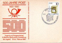 """(DDR-B3) DDR Sonderkarte """"500 JAHRE POST"""", EF Mi 2924, SSt. 15.2.90 ERFURT 1 - [6] République Démocratique"""
