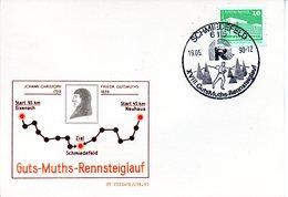 """(DDR-B3) DDR Sonderkarte """"Guts-Muths-Rennsteiglauf"""", EF Mi 2484, SSt.19.5.90 SCHMIEDEFELD - Briefe U. Dokumente"""