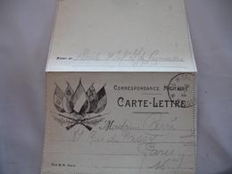 Carte Lettre 5 Drapeaux Fusil Tresor Et Postes 10  Cachet Franchise Postale Guerre 14.18 - Marcophilie (Lettres)