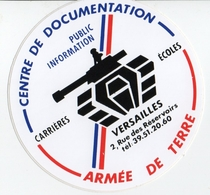 Autocollant : Centre De Documentation Armée De Terre Versailles - Documents