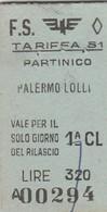 Biglietto Ferroviario - Partinico - Palermo Lolli - Railway