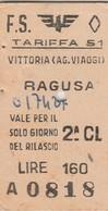 Biglietto Ferroviario - Vittoria - Ragusa - Railway