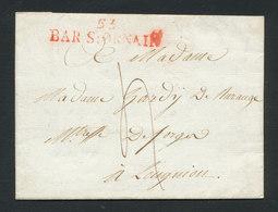 FRANCE 1811 Marque Postale Rouge BAR SUR ORNAIN (53) Du 6/6/1811 Texte Complet Pour LONGUION Longuyon Meurthe & Moselle - Marcophilie (Lettres)