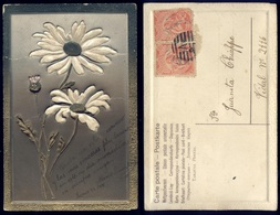 Art EMBOSSED FLOWERS FLEURS Greeting Postcard 1908 With Stamps - Flores