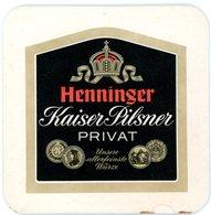 Deutschland. Henninger Kaiser Pilsner Privat. Unsere Allerfeinste Würze. Ernte 23. Der Gewachsene Geschmack. Tabak Frei - Bierdeckel