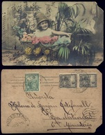 Art EMBOSSED FLOWERS FLEURS Greeting Postcard 1906 With Stamps - Flores