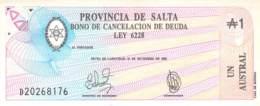 Un Austral Banknote (Scheck) Argentinien (Provincia De Salta) UNC 1987 - Argentine