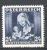 Timbres Neufs** D'autriche, N°481 Yt, Journée Des Mères, La Vierge à La Poire - 1918-1945 1ère République