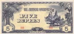 Five Rupes Banknote Japanese Gouverment - Japon