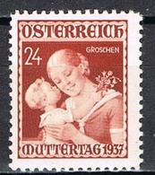Timbres Neufs** D'autriche, N°495 Yt, Journée Des Mères 1937 - 1918-1945 1ère République