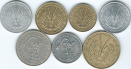 West AfrIcan States  - 1 (1963 & 1975), 5 (1960), 10 (1959), 25 (1970), 50 (1990) & 100 Francs (1967) (KMs 1-6) - Monnaies