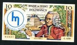 """Billet Fantaisie Années 70 """"Dix Francs Voltaire / Automobiles Mazda - Neuilly-sur-Seine / Salon De L'Auto - Specimen"""